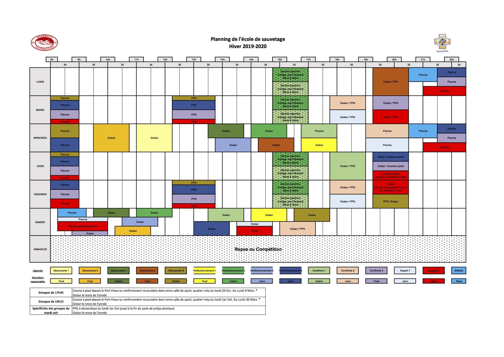 190622 - Plannings sportifs 2019-2020