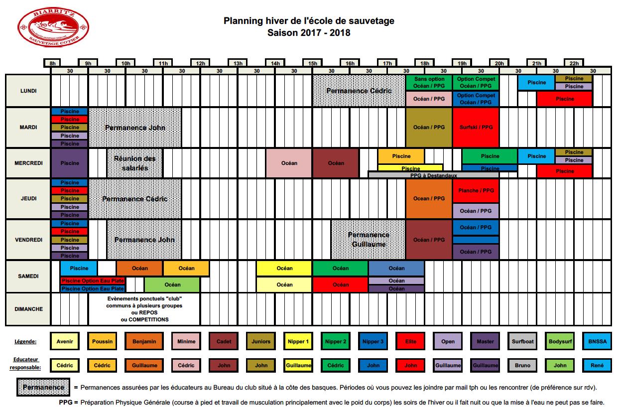 170924 - Planning saison 2017-2018